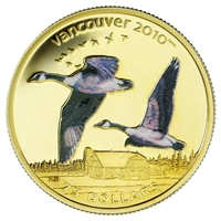 2007 Canada $75 14K Vancouver Olympic - Canada Geese Colourized Gold