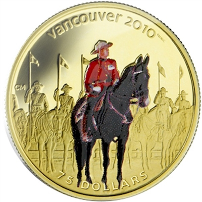 2007 Canada $75 14K Olympic Gold - RCMP (outer sleeve a bit bent)
