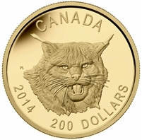 2014 Canada $200 Fierce Canadian Lynx Ultra High Relief Gold (No Tax)