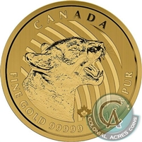 2015 Canada $200 Call of the Wild - Growling Cougar 1oz. Gold (No Tax)