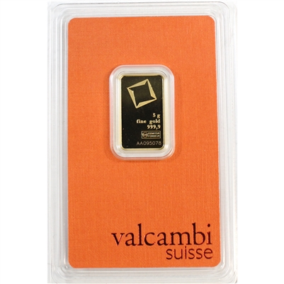 Valcambi Suisse 5g .9999 Gold Bar in Original Package (No Tax)