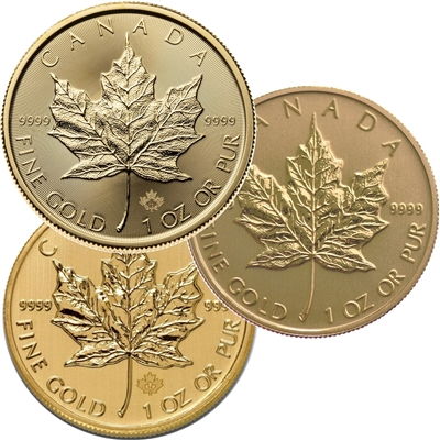 (Pre-Order) $50 1oz. Gold Maple Leaf (any date .9999 Fine) No Tax -NO Credit cards DL-K