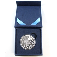 Monarch Precious Medals - Happy Birthday Engraveable Silver Round (No Tax) lightly toned