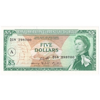 East Caribbean Note Pick #14i 1965 5 Dollars, A Overprint UNC