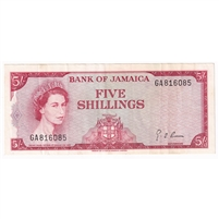 Jamaica Note Pick #51Ad 1964 5 Shillings, Signature 4, VF-EF