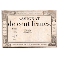 France Note Pick #A78 1795 100 Francs VF (damaged)