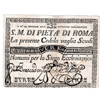 Italian States Note Pick #S301 1795 3 Scudi EF (repaired)