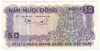 South Viet Nam Note Pick #17a 1966 50 Dong VF-EF
