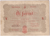 Hungary Note Pick #S116 1848  5 Forint VF (L)