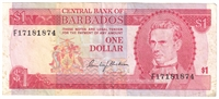 Barbados Note 1973 1 Dollar, EF