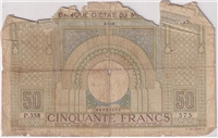Morocco Note 1938 50 Francs, G (L)