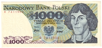 Poland Note Pick #146a 1975 1,000 Zlotych AU-UNC