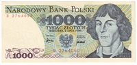 Poland Note Pick #146a 1975 1,000 Zlotych UNC