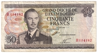 Luxembourg Note Pick #55a 1972 50 Francs F-VF