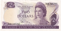 New Zealand Note Pick #164d 1977-81 2 Dollars