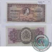Bermuda Note 1952 5 Shillings, VF