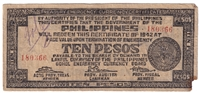 Phillippines Note 1942 10 Peso Bohol, F (damaged)