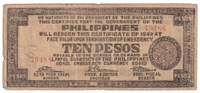 Philippines Note 1942 10 Peso Bohol, F (tears)