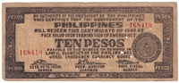Philippines Note 1942 10 Peso Bohol, F (holes)
