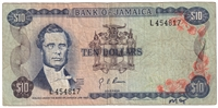 Jamaica Note Pick #57 1970 10 Dollars Circ.