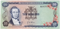 Jamaica Note Pick #57 1970 10 Dollars EF-AU