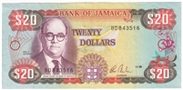 Jamaica Note Pick #72a 1985 20 Dollars AU-UNC