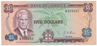 Jamaica Note Pick #56 1970 5 Dollars EF-AU