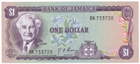 Jamaica Note Pick #54 1970 1 Dollar UNC