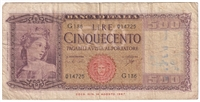 Italy Note Pick #80b 1961 500 Lire F (writing)