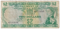 Fiji Note Pick #66a 1971 2 Dollars Circ