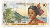 French Antilles Note Pick #8b 1964 10 Francs EF