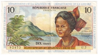 French Antilles Note Pick #8b 1964 10 Francs EF-AU