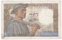 France Note Pick #99e 1943 10 Francs, VF-EF