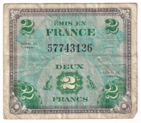 France Note Pick #114b 1944 2 Francs, VF