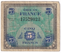 France Note Pick #116a 1944 5 Francs, F-VF