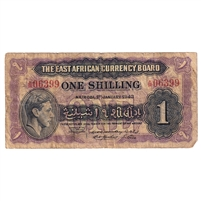 East Africa Note Pick #27 1943 1 Shilling, Fine (holes)