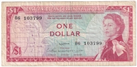 East Caribbean States Note Pick #13a 1965 1 Dollar, Signature 2, F-VF