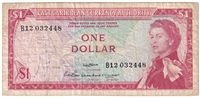 East Caribbean States Note Pick #13a 1965 1 Dollar, Signature 2, Very Fine