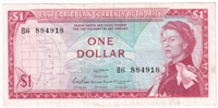 East Caribbean States Note Pick #13a 1965 1 Dollar, Signature 2, VF-EF