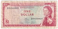 East Caribbean States Note Pick #13d 1965 1 Dollar, Signature 6, Circ