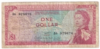 East Caribbean States Note Pick #13a 1965 1 Dollar, Signature 1, Fine