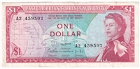 East Caribbean States Note Pick #13a 1965 1 Dollar, Signature 1, VF-EF