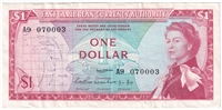 East Caribbean States Note Pick #13a 1965 1 Dollar, Signature 1, Extra Fine