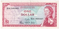 East Caribbean States Note Pick #13b 1965 1 Dollar, Signature 3, Extra Fine