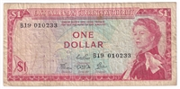 East Caribbean States Note Pick #13c 1965 1 Dollar, Signature 4, Fine