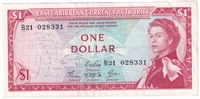 East Caribbean States Note Pick #13c 1965 1 Dollar, Signature 4, Extra Fine