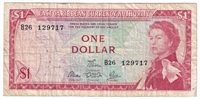 East Caribbean States Note Pick #13d 1965 1 Dollar, Signature 5, F-VF