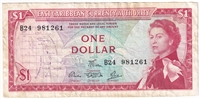 East Caribbean States Note Pick #13d 1965 1 Dollar, Signature 5, Very Fine