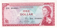 East Caribbean States Note Pick #13d 1965 1 Dollar, Signature 5, EF-AU