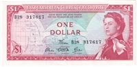 East Caribbean States Note Pick #13d 1965 1 Dollar, Signature 5, Almost Uncirculated